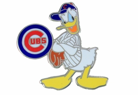 <Br> MAJOR LEAGUE BASEBALL LAPEL PIN  <br> OFFICIALLY LICENSED DISNEY AND MLB ITEM!! <BR>               LEAD & NICKEL FREE!! <Br> W21006P - SILVER TONE CHICAGO CUBS <Br>AND DONALD DUCK LOGO LAPEL PIN <Br>          FROM $3.99