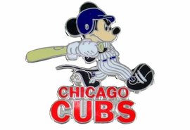 <Br> MAJOR LEAGUE BASEBALL LAPEL PIN  <br> OFFICIALLY LICENSED DISNEY AND MLB ITEM!! <BR>               LEAD & NICKEL FREE!! <Br> W21007P - SILVER TONE CHICAGO CUBS <Br>AND MICKEY MOUSE LOGO LAPEL PIN <Br>          FROM $3.99