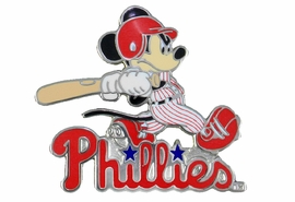 <Br> MAJOR LEAGUE BASEBALL LAPEL PIN  <br> OFFICIALLY LICENSED DISNEY AND MLB ITEM!! <BR>               LEAD & NICKEL FREE!! <Br> W21008P - SILVER TONE PHILADELPHIA PHILLIES <Br>AND MICKEY MOUSE LOGO LAPEL PIN <Br>          FROM $3.99