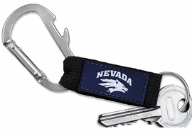 "<bR> WHOLESALE SCHOOL TEAM KEYCHAIN <BR>     OFFICIAL COLLEGIATE LICENSED!! <br>             LEAD & NICKEL FREE!!! <br>W21010KC - UNIVERSITY OF NEVADA <BR>""WOLF PACK"" CARABINER WITH BOTTLE OPENER <BR>  AND KEY CHAIN FOR ONLY $3.53 �2013"