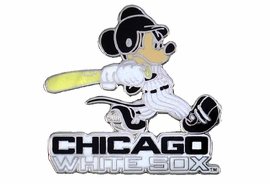 <Br> MAJOR LEAGUE BASEBALL LAPEL PIN  <br> OFFICIALLY LICENSED DISNEY AND MLB ITEM!! <BR>               LEAD & NICKEL FREE!! <Br>W21014P - SILVER TONE CHICAGO WHITE SOX<Br>AND MICKEY MOUSE LOGO LAPEL PIN <Br>          FROM $3.99