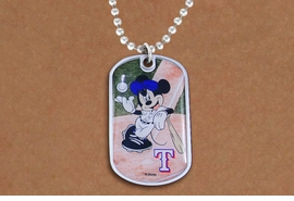 <br> WHOLESALE TEXAS RANGERS JEWELRY<Br>              LEAD & NICKEL FREE!!<Br>OFFICIAL DISNEY AND MLB TEAM LICENSED !!<Br>  MAJOR LEAGUE BASEBALL!!<Br>W21016N - TEXAS RANGERS MLB TEAM WITH <Br> MICKEY MOUSE ON DOG TAG PENDANT <br>        FROM $2.99