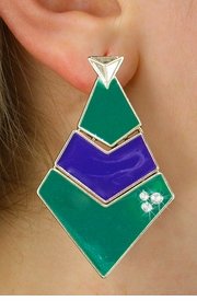 <BR>        WHOLESALE FASHION EARRINGS <Br>    CADMIUM, LEAD AND NICKEL FREE!! <Br>     W21118E - THREE TIERED GOLD TONE <BR>GREEN AND PURPLE FILL AND CRYSTAL EARRINGS <Br>          FROM $5.63 TO $12.50 �2013
