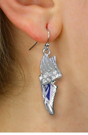 <BR>      WHOLESALE TRACK AND FIELD JEWELRY<bR>            EXCLUSIVELY OURS!! <BR>       AN ALLAN ROBIN DESIGN!! <BR> CADMIUM, LEAD & NICKEL FREE!! <BR> W21202E - SILVER TONE AND CRYSTAL <Br>WINGED BLUE SNEAKER CHARM EARRINGS <BR>     FROM $3.15 TO $7.50 �2014