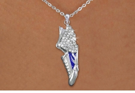 <br>WHOLESALE FASHION TRACK & FIELD JEWELRY<bR>                   LEAD & NICKEL FREE!! <BR>W21203N - BEAUTIFUL SILVER TONE AND CRYSTAL <BR> WINGED TRACK SNEAKER PENDANT ON SILVER <BR> TONE LOBSTER CLASP CHAIN NECKLACE <BR>              FROM $5.06 TO $11.25 �2014