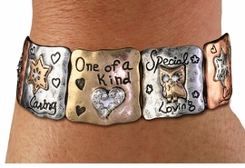 """<br> WHOLESALE FASHION ROMANTIC JEWELRY<bR>     100% LEAD AND NICKEL FREE!!! <BR>W21238B - STYLISH GOLD, SILVER AND COPPER <BR> TONE ANTIQUED """"ONE OF A KIND"""" STRETCH<BR>  BRACELET FROM $10.13 TO $22.50 �2014"""
