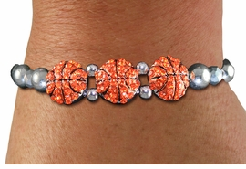 <BR> WHOLESALE SPORTS FASHION JEWELRY <Br>               LEAD & NICKEL FREE!! <BR> W21247B - BRIGHT, POLISHED SILVER <BR> TONE BEAD STRETCH BRACELET WITH <Br>THREE CRYSTAL MINI BASKETBALL CHARMS <BR>         FROM $5.63 TO $12.50 �2014