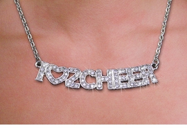 "<br>WHOLESALE CHEERLEADER FASHION JEWELRY<bR>                   LEAD & NICKEL FREE!! <BR>W21253N - BEAUTIFUL SILVER TONE <BR> AUSTRIAN CRYSTAL ""I LOVE 2 CHEER"" <BR> LOBSTER CLASP CHAIN NECKLACE <BR>              FROM $4.50 TO $10.00 �2014"