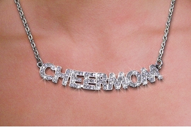 "<br>WHOLESALE CHEERLEADER FASHION JEWELRY<bR>                   LEAD & NICKEL FREE!! <BR> W21255N - BEAUTIFUL SILVER TONE <BR> AUSTRIAN CRYSTAL ""CHEER MOM"" <BR> LOBSTER CLASP CHAIN NECKLACE <BR>              FROM $4.50 TO $10.00 �2014"