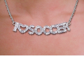 "<br>WHOLESALE SOCCER FASHION JEWELRY<bR>                   LEAD & NICKEL FREE!! <BR> W21256N - BEAUTIFUL SILVER TONE <BR> AUSTRIAN CRYSTAL ""I LOVE SOCCER"" <BR> LOBSTER CLASP CHAIN NECKLACE <BR>              FROM $4.50 TO $10.00 �2014"