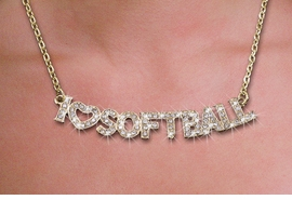 "<br>WHOLESALE FOOTBALL FASHION JEWELRY<bR>                   LEAD & NICKEL FREE!! <BR>   W21259N - BEAUTIFUL GOLD TONE <BR> AUSTRIAN CRYSTAL ""I LOVE SOFTBALL"" <BR> LOBSTER CLASP CHAIN NECKLACE <BR>              FROM $4.50 TO $10.00 �2014"
