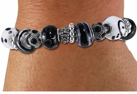 <br> WHOLESALE FASHION BEADED JEWELRY<bR>     100% LEAD AND NICKEL FREE!!! <BR>W21261B - STYLISH SILVER TONE <BR> BLACK AND WHITE UNIQUE BEADED <BR>  BRACELET FROM $11.81 TO $26.25  �2014
