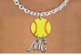 <Br>                  EXCLUSIVELY OURS!!<Br>            AN ALLAN ROBIN DESIGN!!<Br>                 LEAD & NICKEL FREE!! <BR>       THIS IS A PERSONALIZED ITEM <Br>W21270N - SILVER TONE TOGGLE CLASP <BR>NECKLACE AND YELLOW SOFTBALL PENDANT <BR>            WITH YOUR INITIALS <BR>        FROM $7.65 TO $17.00 �2014