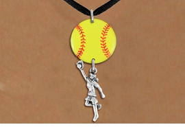 <Br>                  EXCLUSIVELY OURS!!<Br>            AN ALLAN ROBIN DESIGN!!<Br>                 LEAD & NICKEL FREE!! <Br>W21276N - BLACK SUEDE LEATHERETTE <BR>NECKLACE AND YELLOW SOFTBALL PENDANT <BR>WITH GIRL CATCHING BALL CHARM <BR>        FROM $7.31 TO $16.25 �2014