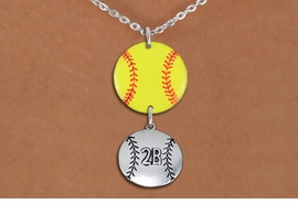 <Br>                  EXCLUSIVELY OURS!!<Br>            AN ALLAN ROBIN DESIGN!!<Br>                 LEAD & NICKEL FREE!! <Br>W21282N - SILVER TONE LOBSTER CLASP <BR>NECKLACE AND YELLOW SOFTBALL PENDANT <BR>WITH CUSTOM POSITION BALL CHARM<BR>        FROM $7.31 TO $16.25 �2014