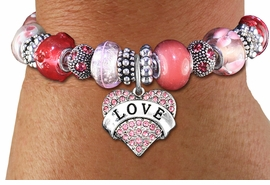 "<br> WHOLESALE FASHION BEADED JEWELRY<bR>     100% LEAD AND NICKEL FREE!!! <BR>W21296B - STYLISH SILVER TONE <BR>FUCHSIA AND PINK UNIQUE BEADED BRACELET<BR>  WITH ""LOVE"" CRYSTAL HEART CHARM <BR>       FROM $15.75 TO $35.00 �2014"