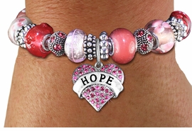"<br> WHOLESALE FASHION BEADED JEWELRY<bR>     100% LEAD AND NICKEL FREE!!! <BR>W21297B - STYLISH SILVER TONE <BR>FUCHSIA AND PINK UNIQUE BEADED BRACELET<BR>  WITH ""HOPE"" CRYSTAL HEART CHARM <BR>       FROM $15.75 TO $35.00 �2014"