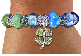 <br> WHOLESALE FASHION BEADED JEWELRY<bR>     100% LEAD AND NICKEL FREE!!! <BR>W21298B - STYLISH SILVER TONE <BR>LIME AND AQUA UNIQUE BEADED BRACELET<BR>  WITH 4 LEAF CLOVER CRYSTAL CHARM <BR>       FROM $15.75 TO $35.00 �2014