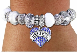 "<br> WHOLESALE FASHION BEADED JEWELRY<bR>     100% LEAD AND NICKEL FREE!!! <BR>W21299B - STYLISH SILVER TONE <BR>CLEAR AND WHITE UNIQUE BEADED BRACELET<BR>  WITH ""BELIEVE"" CRYSTAL HEART CHARM <BR>       FROM $15.75 TO $35.00 �2014"