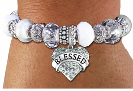 "<br> WHOLESALE FASHION BEADED JEWELRY<bR>     100% LEAD AND NICKEL FREE!!! <BR>W21300B - STYLISH SILVER TONE <BR>CLEAR AND WHITE UNIQUE BEADED BRACELET<BR>  WITH ""BLESSED"" CRYSTAL HEART CHARM <BR>       FROM $15.75 TO $35.00 �2014"
