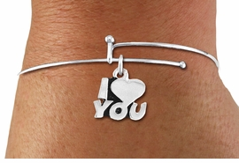 "<BR>      WHOLESALE CHARM BRACELET <BR>     LEAD, CADMIUM & NICKEL FREE!!  <BR>    W21303B - BRIGHT SILVER TONE  <BR>     ADJUSTABLE CHARM BRACELET WITH <br>  SILVER TONE ""I LOVE YOU"" CHARM <BR>         FOR $7.75 EACH! ©2014"