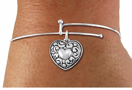 <BR>      WHOLESALE CHARM BRACELET <BR>     LEAD, CADMIUM & NICKEL FREE!!  <BR>    W21308B - BRIGHT SILVER TONE  <BR>     ADJUSTABLE CHARM BRACELET WITH <br> SILVER TONE ANTIQUED SCRIPT HEART <BR>   CHARM FOR $7.75 EACH! ©2014