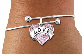 "<BR>      WHOLESALE CHARM BRACELET <BR>     LEAD, CADMIUM & NICKEL FREE!!  <BR>    W21309B - BRIGHT SILVER TONE  <BR>     ADJUSTABLE CHARM BRACELET WITH <br>PINK CRYSTAL ""LOVE"" HEART CHARM <BR>         FOR $10.75 EACH! ©2014"