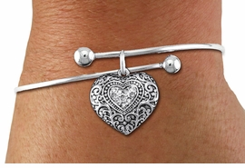 <BR>      WHOLESALE CHARM BRACELET <BR>     LEAD, CADMIUM & NICKEL FREE!!  <BR>    W21311B - BRIGHT SILVER TONE  <BR>     ADJUSTABLE CHARM BRACELET WITH <br>CLEAR CRYSTAL WESTERN HEART CHARM <BR>         FOR $10.75 EACH! ©2014