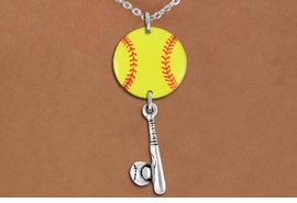 <Br>                  EXCLUSIVELY OURS!!<Br>            AN ALLAN ROBIN DESIGN!!<Br>                 LEAD & NICKEL FREE!! <Br>W21319N - SILVER TONE LOBSTER CLASP <BR>NECKLACE AND YELLOW SOFTBALL PENDANT <BR>WITH SOFTBALL BALL AND BAT CHARM <BR>        FROM $7.31 TO $16.25 �2014