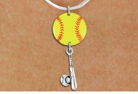 <Br>                  EXCLUSIVELY OURS!!<Br>            AN ALLAN ROBIN DESIGN!!<Br>                 LEAD & NICKEL FREE!! <Br>W21320N - SILVER TONE SNAKE CHAIN <BR>NECKLACE AND YELLOW SOFTBALL PENDANT <BR>WITH SOFTBALL BALL AND BAT CHARM <BR>        FROM $7.31 TO $16.25 �2014