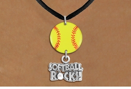 "<Br>                  EXCLUSIVELY OURS!!<Br>            AN ALLAN ROBIN DESIGN!!<Br>                 LEAD & NICKEL FREE!! <Br>W21322N - BLACK SUEDE LEATHERETTE <BR>NECKLACE AND YELLOW SOFTBALL PENDANT <BR>WITH SILVER TONE ""SOFTBALL ROCKS!"" CHARM <BR>        FROM $7.31 TO $16.25 �2014"