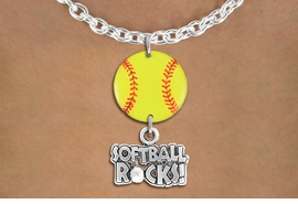 "<Br>                  EXCLUSIVELY OURS!!<Br>            AN ALLAN ROBIN DESIGN!!<Br>                 LEAD & NICKEL FREE!! <Br>W21326N - SILVER TONE TOGGLE CHAIN <BR>NECKLACE AND YELLOW SOFTBALL PENDANT <BR>WITH SILVER TONE ""SOFTBALL ROCKS!"" CHARM <BR>        FROM $7.31 TO $16.25 �2014"