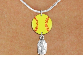 <Br>                  EXCLUSIVELY OURS!!<Br>            AN ALLAN ROBIN DESIGN!!<Br>                 LEAD & NICKEL FREE!! <Br>W21330N - SILVER TONE SNAKE CHAIN <BR>NECKLACE AND YELLOW SOFTBALL PENDANT <BR>WITH SILVER TONE SOFTBALL CAP CHARM <BR>        FROM $7.31 TO $16.25 �2014