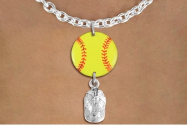 <Br>                  EXCLUSIVELY OURS!!<Br>            AN ALLAN ROBIN DESIGN!!<Br>                 LEAD & NICKEL FREE!! <Br>W21331N - SILVER TONE TOGGLE CHAIN <BR>NECKLACE AND YELLOW SOFTBALL PENDANT <BR>WITH SILVER TONE SOFTBALL CAP CHARM <BR>        FROM $7.31 TO $16.25 �2014