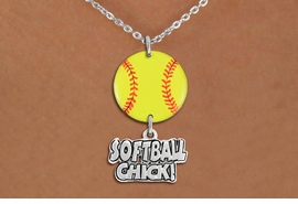 "<Br>                  EXCLUSIVELY OURS!!<Br>            AN ALLAN ROBIN DESIGN!!<Br>                 LEAD & NICKEL FREE!! <Br>W21334N - SILVER TONE LOBSTER CLASP <BR>NECKLACE AND YELLOW SOFTBALL PENDANT <BR>WITH SILVER TONE ""SOFTBALL CHICK!"" CHARM <BR>        FROM $7.31 TO $16.25 �2014"