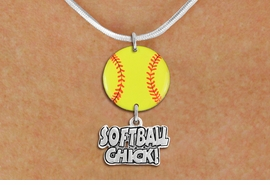 "<Br>                  EXCLUSIVELY OURS!!<Br>            AN ALLAN ROBIN DESIGN!!<Br>                 LEAD & NICKEL FREE!! <Br>W21335N - SILVER TONE SNAKE CHAIN <BR>NECKLACE AND YELLOW SOFTBALL PENDANT <BR>WITH SILVER TONE ""SOFTBALL CHICK!"" CHARM <BR>        FROM $7.31 TO $16.25 �2014"