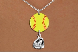 <Br>                  EXCLUSIVELY OURS!!<Br>            AN ALLAN ROBIN DESIGN!!<Br>                 LEAD & NICKEL FREE!! <Br>W21339N - SILVER TONE LOBSTER CLASP <BR>NECKLACE AND YELLOW SOFTBALL PENDANT WITH <BR>SILVER TONE SOFTBALL BALL IN GLOVE CHARM <BR>        FROM $7.31 TO $16.25 �2014