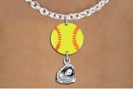 <Br>                  EXCLUSIVELY OURS!!<Br>            AN ALLAN ROBIN DESIGN!!<Br>                 LEAD & NICKEL FREE!! <Br>W21341N - SILVER TONE TOGGLE CLASP <BR>NECKLACE AND YELLOW SOFTBALL PENDANT WITH <BR>SILVER TONE SOFTBALL BALL IN GLOVE CHARM <BR>        FROM $7.31 TO $16.25 �2014