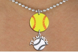 "<Br>                  EXCLUSIVELY OURS!!<Br>            AN ALLAN ROBIN DESIGN!!<Br>                 LEAD & NICKEL FREE!! <Br>W21348N - SILVER TONE BALL CHAIN <BR>NECKLACE AND YELLOW SOFTBALL PENDANT <BR>WITH SILVER TONE ""TEAM MOM"" SOFTBALL CHARM <BR>        FROM $7.31 TO $16.25 �2014"