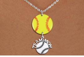 "<Br>                  EXCLUSIVELY OURS!!<Br>            AN ALLAN ROBIN DESIGN!!<Br>                 LEAD & NICKEL FREE!! <Br>W21349N - SILVER TONE LOBSTER CLASP <BR>NECKLACE AND YELLOW SOFTBALL PENDANT <BR>WITH SILVER TONE ""TEAM MOM"" SOFTBALL CHARM <BR>        FROM $7.31 TO $16.25 �2014"