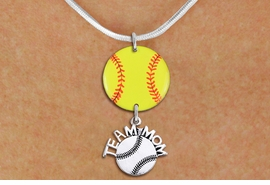 "<Br>                  EXCLUSIVELY OURS!!<Br>            AN ALLAN ROBIN DESIGN!!<Br>                 LEAD & NICKEL FREE!! <Br>W21350N - SILVER TONE SNAKE CHAIN <BR>NECKLACE AND YELLOW SOFTBALL PENDANT <BR>WITH SILVER TONE ""TEAM MOM"" SOFTBALL CHARM <BR>        FROM $7.31 TO $16.25 �2014"