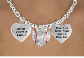 """<BR> BEAUTIFUL  """" CRYSTAL SOFTBALL HEART """" CHARM NECKLACE WHOLESALE <bR>                 W21484N - THE NEW WAY TO EXPRESS LOVE, MOTIVATION,<BR>          POSITIVE, AFFIRMATIVE EXPRESSIONS, THAT WILL GO PERFECTLY<br>        WITH ANOTHER POSITIVE AFFIRMATION CHARM IF YOU WANT  ONE,<BR>   MORE CHOICES LOOK BELOW,  CHARM NECKLACE FROM $9.73 TO $14.58<BR>                                    CostumeJewelryWholesale.com �2014"""