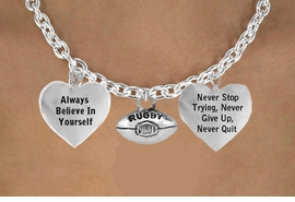 "<BR>                           "" RUGBY BALL""  CHARM NECKLACE WHOLESALE <bR>                 W21491N - THE NEW WAY TO EXPRESS LOVE, MOTIVATION,<BR>          POSITIVE, AFFIRMATIVE EXPRESSIONS, THAT WILL GO PERFECTLY<br>        WITH ANOTHER POSITIVE AFFIRMATION CHARM IF YOU WANT  ONE,<BR>   MORE CHOICES LOOK BELOW,  CHARM NECKLACE FROM $9.73 TO $14.58<BR>                                    CostumeJewelryWholesale.com �2014"
