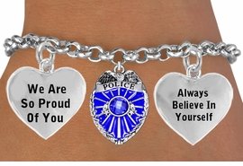 "<BR>                                   GENUINE "" CRYSTAL POLICE BADGE CHARM""<BR>                                    ADJUSTABLE CHARM BRACELET WHOLESALE <bR>                    W21501B - THE NEW WAY TO EXPRESS LOVE, MOTIVATION,<BR>             POSITIVE, AFFIRMATIVE EXPRESSIONS, THAT WILL GO PERFECTLY<br>           WITH ANOTHER POSITIVE AFFIRMATION CHARM IF YOU WANT  ONE,<BR>      MORE CHOICES LOOK BELOW,  CHARM BRACELET FROM $9.73 TO $14.58<BR>                                       CostumeJewelryWholesale.com �2014"