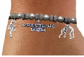 <BR>                          WRESTLING MOM BRACELET<BR>     NEW HAND MADE STRETCH BRACELET THAT CAN <br>                 HOLD UP TO 13 DIFFERENT CHARMS<BR>         AN ORIGINAL ALLAN ROBIN CUSTOM DESIGN<br>                       WHOLESALE CHARM BRACELET <BR>                     LEAD, CADMIUM & NICKEL FREE!!  <BR>W21538B-HIGH POLISHED, BRIGHT ANTIQUE SILVER TONE  <BR>      FITS ALL SIZES, FROM $13.75 TO $18.75 EACH! ©2014