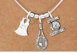 "<BR>             FABULOUS NEW SNAKE CHAIN ADJUSTABLE CHAIN NECKLACE<BR>                 WITH A WHITE OR IVORY TENNIS DRESS CHARM WITH LOVE<BR>             IMPRINTED ON THE DRESS NEXT TO A TENNIS RACQUET WITH AN<BR>             CRYSTAL BALL ATTACHED, NEXT TO A TENNIS BALL IMPRINTED<BR>             WITH A MOTIVATIONAL MESSAGE< ""ADDITUTE IS EVERYTHING<BR>                            AN ORIGINAL ALLAN ROBIN CUSTOM DESIGN<br>                                          WHOLESALE CHARM BRACELET <BR>                                        LEAD, CADMIUM & NICKEL FREE!!  <BR>              W21559N-HIGH POLISHED, BRIGHT ADJUSTABLE SILVER TONE  <BR>                             NECKLACE FROM $12.90 TO $17.30 EACH! ©2015"