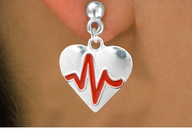 "<BR>                                                      NICKEL FREE !<BR>                                               ""THE PERFECT GIFT"",<BR>                     ""Your Love Makes My Heart Beat"","" I Love You"", Or<BR>            In Recognition Of ""Women's Or Children's Heart Disease""<BR>                      ""HEARTBEAT""  POST NON ALLERGIC EARRINGS<BR>                         AN ORIGINAL ALLAN ROBIN CUSTOM DESIGN<br>                                       WHOLESALE CHARM EARRINGS <BR>                                     LEAD, CADMIUM & NICKEL FREE!!  <BR>                      W21572E-NON-ALLERGIC, BRIGHT SILVER TONE <BR>                  POST EARRINGS FROM $4.65 TO $8.45 EACH! ©2015"