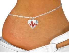 "<BR>                              NICKEL FREE & ADJUSTABLE ANKLET ! <BR>                                               ""THE PERFECT GIFT"",<BR>                     ""Your Love Makes My Heart Beat"","" I Love You"", Or<BR>            In Recognition Of ""Women's Or Children's Heart Disease""<BR>                                 ""HEARTBEAT"" ADJUSTABLE ANKLET<BR>                        AN ORIGINAL ALLAN ROBIN CUSTOM DESIGN<br>                                         WHOLESALE CHARM ANKLET <BR>                                    LEAD, CADMIUM & NICKEL FREE!!  <BR>W21574AK-HIGH POLISHED, BRIGHT ANTIQUE SILVER TONE  CHARM<BR>                  FITS ALL SIZES FROM $4.50 TO $8.35 EACH! ©2015"