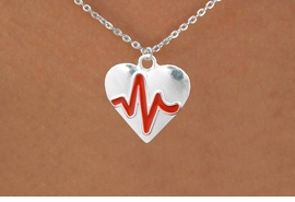 "<BR>                                    NICKEL FREE & ADJUSTABLE NECKLACE ! <BR>                                                         ""THE PERFECT GIFT"",<BR>                               ""Your Love Makes My Heart Beat"","" I Love You"", Or <BR>                      In Recognition Of ""Women's Or Children's Heart Disease""<BR>                           "" HEARTBEAT "" SMALL CHAIN ADJUSTABLE NECKLACE<BR>                                     AN ORIGINAL ALLAN ROBIN CUSTOM DESIGN<br>                                                   WHOLESALE CHARM NECKLACE <BR>                                                 LEAD, CADMIUM & NICKEL FREE!!  <BR>             W21577N-SMALL CHAIN, BRIGHT SILVER TONE ADJUSTABLE NECKLACE <BR>                                   FITS ALL SIZES FROM $5.60 TO $9.85 EACH! ©2015"