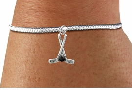 <BR>                                 NICKEL FREE !<BR>WHOLESALE HOCKEY SNAKE CHAIN BRACELET <bR>                            EXCLUSIVELY OURS!! <Br>                       AN ALLAN ROBIN DESIGN!! <BR>                 LEAD, NICKEL & CADMIUM FREE!! <BR>              W21594B - SILVER TONE HOCKEY STICKS <BR>            AND PUCK CHARM ON SNAKE CHAIN BRACELET <BR>                     FROM $4.50 TO $10.00 �2015